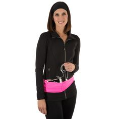 Fit Belt Pink –Great to wear while exercising, walking and traveling. It has 2 pockets that will hold many items such as cell phones, passports, cash and keys. Make your travels easy with your important items in the belt.