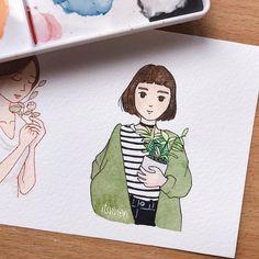 Better Drawing Yoona as Matilda Marker Kunst, Marker Art, Cartoon Kunst, Cartoon Art, Aesthetic Drawing, Aesthetic Art, Cute Drawings, Drawing Sketches, Matilda