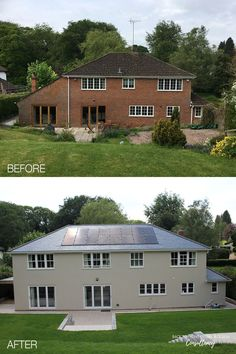 Before and after photos showing rear view of a large Georgian style home after extending, remodelling of the exterior and landscaping. Transformed with coloured through render, slate roofing and new timber windows and doors. #homeremodelling #renovation #remodelling #homeinspiration Timber Windows, Windows And Doors, Georgian Style Homes, Slate Roof, Rear View, Home Remodeling, Home And Family, Shed, Outdoor Structures