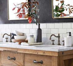 Benchwright Double Sink Console Wax Pine Finish at Pottery Barn 72 Double Sink Vanity, Vanity Sink, Vanity Tops, Marble Bathroom Accessories, Bath Accessories, Large Tub, Wood Bath, Widespread Bathroom Faucet, Vanities