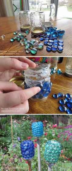 DIY Garden Treasure Jars Garten Ideen, Jars Gardening, Treasure Jar, Gartenarbeit - DIY and Crafts 2019 Outdoor Crafts, Outdoor Projects, Garden Projects, Kids Garden Crafts, Garden Kids, Diy Garden Decor, Mason Jar Crafts, Mason Jars, Glass Jars