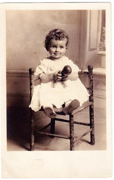 """The """"Doll Baby"""" expression shown on this pretty little curly haired young child is priceless. The era real photo postcard. Vintage Children Photos, Vintage Girls, Vintage Images, Beautiful Little Girls, Beautiful Children, Antique Pictures, Old Photos, Little Doll, Photo Postcards"""