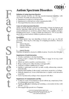 autistic disorder research paper