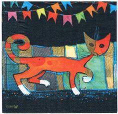 5 x Rosina Wachtmeister - Servietten - Catwalk - Katzen - Stewo