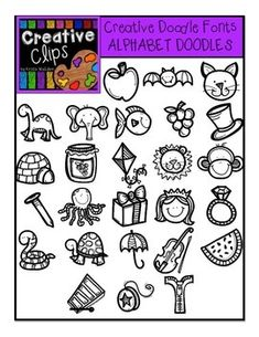 This font has 26 doodle images that can be inserted into documents as a text box and used in programs such as word and powerpoint like other fonts. $