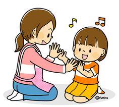 先生と手遊びをする女の子のイラスト(カラー)