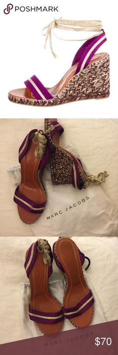 Marc Jacobs wedges Purple satin Marc Jacobs wedge sandals with tonal stitching, gold-tone metallic grosgrain trim. In pristine condition, never worn! Marc Jacobs Shoes Wedges