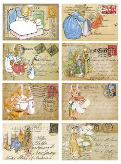 """digital download of eight postcards with with Peter Rabbit, 2.5"""" by 3.75""""...$3.50"""