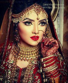 stunning bridal makeover by zahid khan, Bangladesh Indian Bridal Photos, Indian Bridal Outfits, Indian Bridal Wear, Asian Bridal, Bridal Dresses, Bride Indian, Pakistani Bridal Makeup, Indian Wedding Photography Poses, Bridal Makeover