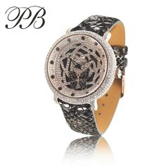 US $77.42 - Luxury Women Watch Brand PB Butterfly Flower Big Dial Snake-Plated Leather Strap Waterproof Quartz Watch montre de luxe HL566