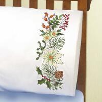 Herrschners® Winter Pillowcase Pair Stamped Cross-Stitch