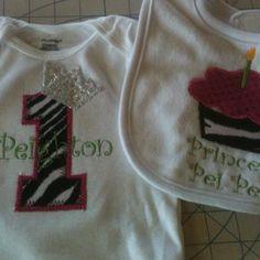 Princess Pei Pei's custom birthday onesie & bib! By http://www.twoglitzygals.com