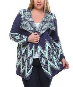 Love this Blue Geometric Open Cardigan - Plus on #zulily! #zulilyfinds