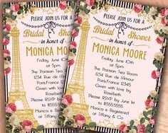 Bridal Shower Invitation-Paris Bridal Shower-Gold by Hottomatoink2