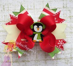Christmas Hair bow penguin hair clip polka dots by JaybeePepper, $6.00