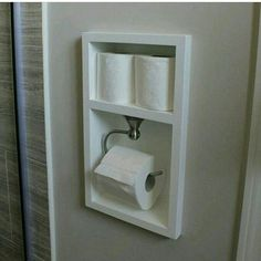 Excellent space saving idea for a small bathroom.: Custom toilet paper holder - Excellent space saving idea for a small bathroom.: Custom toilet paper holder Best Picture For v - Ensuite Bathrooms, Laundry In Bathroom, Bathroom Renos, Simple Bathroom, Bathroom Renovations, Home Remodeling, Budget Bathroom, Bathroom Makeovers, Vanity Bathroom