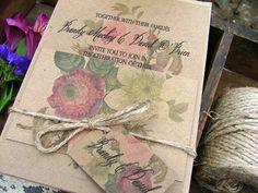 Beautiful Vintage Botanical Wedding Invitation - rose and dahlia garden wedding via Etsy