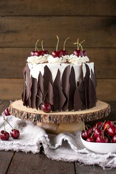 This Black Forest Cake combines rich chocolate cake layers with fresh cherries, . - This Black Forest Cake combines rich chocolate cake layers with fresh cherries, cherry liqueur, and - Cherry Liqueur, Whipped Cream Frosting, Cherry Frosting, Buttercream Frosting, Black Forest Cake, Black Forest Birthday Cake, Cake Delivery, Birthday Cake Decorating, Cake Birthday