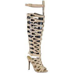 Breckelle's DIVA-22 Strappy Over the Knee High Heel Stiletto Gladiator Heel Sandal