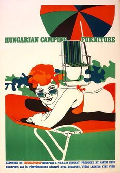 1969, commercial poster of camping furniture with colorful stains. Sunbathing lady with thick sunglasses next to Lake Balaton.