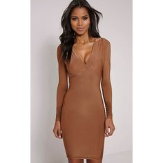 Adirenne Tan Slinky Deep V Neck Mini Dress ($13) ❤ liked on Polyvore featuring dresses, brown, tan dress, long sleeve short dress, deep v neck dress, brown dress and plunge dress