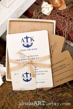 Navy Rustic nautical themed beach printable wedding von JubeeleeArt