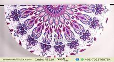 Purple Floral Roundie Indian Mandala Throw Tapestry Boho Bohemian Round Beach Rug Yoga Mats
