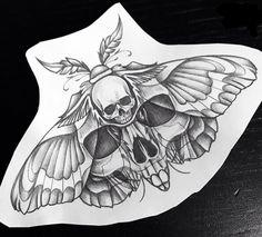 Dope Tattoos, Skull Tattoos, Black Tattoos, Body Art Tattoos, Sleeve Tattoos, Moth Tattoo Design, Tattoo Design Drawings, Tattoo Sketches, Tattoo Designs