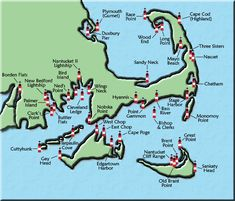 Lower Massachusetts Lighthouse Map