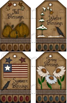 Set of 4 Large Seasonal Hang Tags Instant Download Printable
