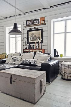 ♂ Masculine interior Lunda Gard / Aja and Christian Lund {gray and white eclectic rustic vintage modern living room}
