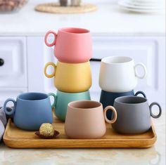 ceramic mugs Wholesale China suppliers matte color glaze coffee ceramic mugs From Cute Kitchen, Kitchen Items, Kitchen Utensils, Ceramic Coffee Cups, Coffee Mugs, Coffee Coffee, Coffee Lovers, Coffee Break, Tassen Design