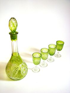Vintage Liqueur Decanter set Sherry glasses by GrandpasTreasury,
