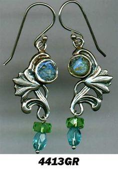 Roman glass sterling #silver #earrings #bluenoemi 94 USD http://www.bluenoemi-jewelry.com/roman-glass-crystal-dangling-earrings.html