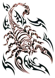 "Black & Red Tribal Scorpion Temporary Body Art Tattoos 2.5"" x 3.5"""