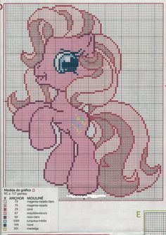 schema punto a croce my little pony Cross Stitch Horse, Unicorn Cross Stitch Pattern, Cross Stitch Baby, Cross Stitch Patterns, Christmas Embroidery Patterns, Embroidery Patterns Free, Cross Stitching, Cross Stitch Embroidery, My Little Pony