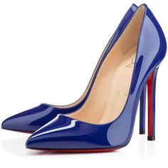Christian Louboutin Pigalle (€590) ❤ liked on Polyvore featuring shoes, pumps, heels, christian louboutin, sapatos, neptune, new arrivals, pointy toe pumps, high heel stilettos and patent leather pointed toe pumps