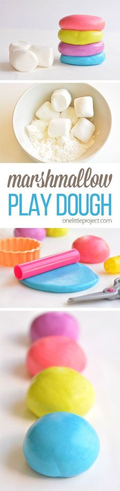 This marshmallow play dough is SO MUCH FUN and it has to be the easiest play dough recipe we've ever made! And best of all, it's completely safe to eat! Easiest Slime Recipe, Edible Playdough Recipe, Edible Play Dough, Edible Sensory Play, Edible Slime, Play Dough Homemade, Homemade Putty, Food Slime, Edible Sand