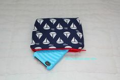Paded Cosmetic Bag/ Gadget Case  Navy Sail Boats  by babypenelope, $8.50