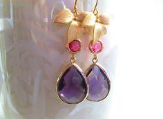 Teardrop Amethyst Earrings Bridal Earrings by StarlightWeddings
