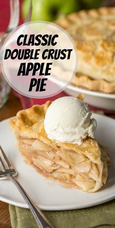 Classic Double Crust Apple Pie recipe from RecipeGirl.com #classic #double #crust #apple #pie #recipe #RecipeGirl Double Crust Apple Pie Recipe, Apple Pie Recipes, Cheesecake Recipes, Cookie Recipes, Dessert Recipes, Fun Desserts, Easy Holiday Recipes, Fun Easy Recipes, Vegetarian Recipes Easy