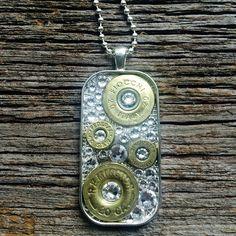 Bullets & Clear Swarovski Crystals Large Dog by PrettyHunterUSA Shotgun Shell Jewelry, Ammo Jewelry, Jewelry Tags, Metal Jewelry, Diy Jewelry, Shotgun Shells, Jewelry Ideas, Jewlery, Jewelry Making