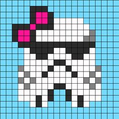 Free Stormtrooper With Bow Hama Perler Bead Pattern or Cross Stitch Chart