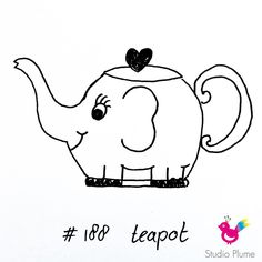 Teapot doodle 188/365 #365doodleswithjohannafritz #illustration #handdrawn #draweveryday #doodle #teatime #surfacedesign #theedrinken #tekenen