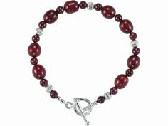 Rhodolite Garnet and Cranberry-dyed Freshwater Pearl Bracelet accented with Sterling Silver.  $75 Moses Jewelers | | cm-256464