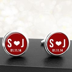 Personalized Cufflinks Initals Heart and Date by BelugaHomeStudio.etsy.com  The red and white is perfect for valentines day but colors can be anything you want.