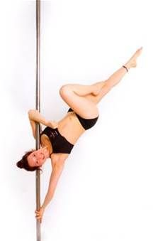 Name? Get into it from an inverted elbow grip. Place pole on back of the neck, keep core active, and release the legs slowly