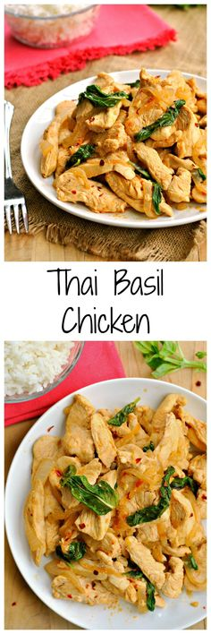 Thai Basil Chicken is a quick and delicious 25 minute dinner! It's a great skinny weeknight meal that is anything but ordinary!