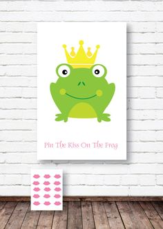Pin the Kiss on the Frog Poster- Kiss the Frog Poster- Princess Party Printables from Crowning Details Disney Party Games, Princess Birthday Party Games, Frog Birthday Party, Princess Party Invitations, Prince Birthday, Disney Princess Party, 4th Birthday Parties, 3rd Birthday, Kiss The Frog