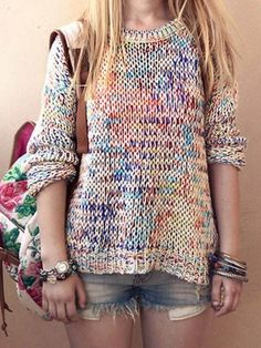 Rainbow Color Loose Jumper